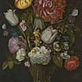 Ambrosius bosschaert the elder, flowers in a berkemeier glass on a stone ledge