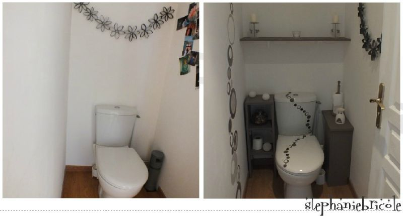 tuto diy id es pour d corer les wc defi deco st phanie bricole. Black Bedroom Furniture Sets. Home Design Ideas