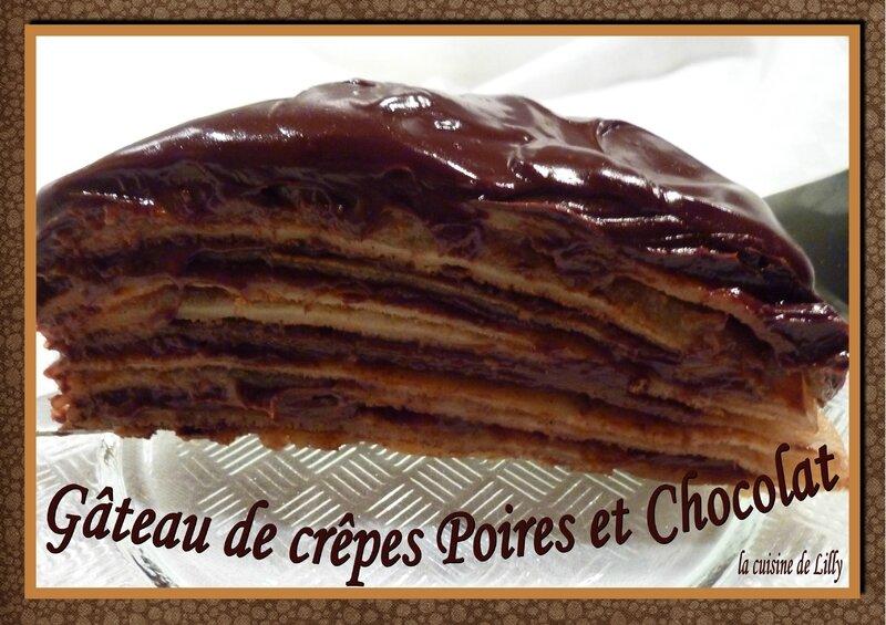 gâteau de crêpes poires-chocolat
