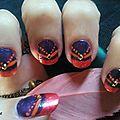 Nail art french orange style oriental