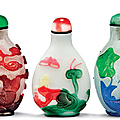 Three overlay glass flattened snuff bottles, 19th century
