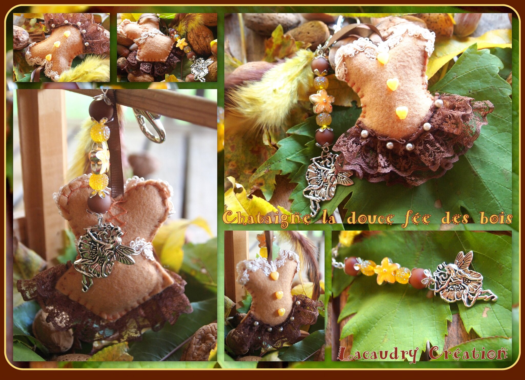 Chataigne la douce fée de l'automne, mon défi pour ALM du mois de novembre, bijou de sac corset en feutrine