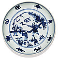 A blue and white 'boys' saucer-dish, jiajing mark and period (1522-1566)