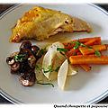 Pintade au four, champignons bruns, carottes et navets