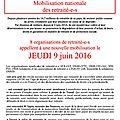 8 organisations de retraité-e-s, de la cgt à l'unpra, appellent à un nouvelle mobilisation nationale, jeudi 9 juin