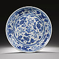 A large ming-style blue and white dish, qing dynasty, 18th century