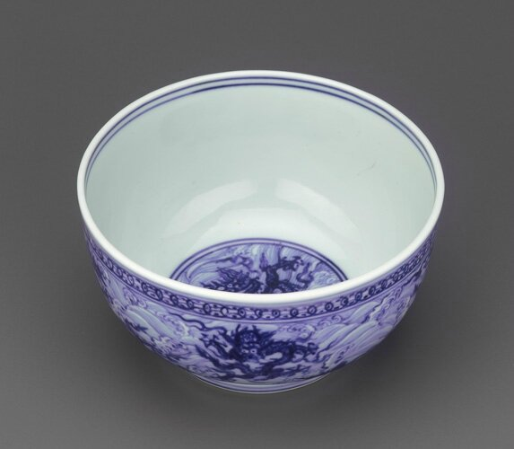 Bowl, mid to late 15th century, Ming dynasty. Porcelain with cobalt pigment under clear, colorless glaze. H: 7.3 W: 13.2 cm, Jingdezhen, China F1953.5. Freer/Sackler © 2014 Smithsonian Institution