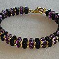 bracelet rullas noir et violet