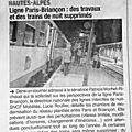 Ligne paris-briançon : des travaux et des trains de nuit supprimés