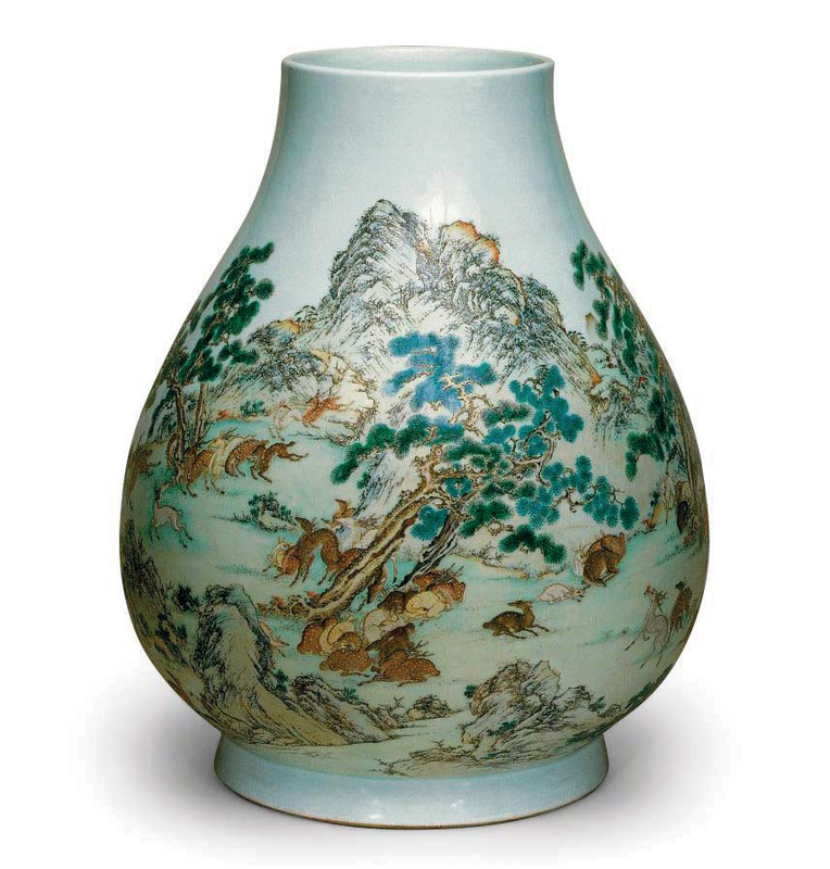 A yangcai 'hundred deer' vase