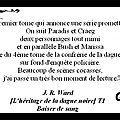 Avis : j.r. ward - [l'héritage de la dague noire] - t1 - baiser de sang