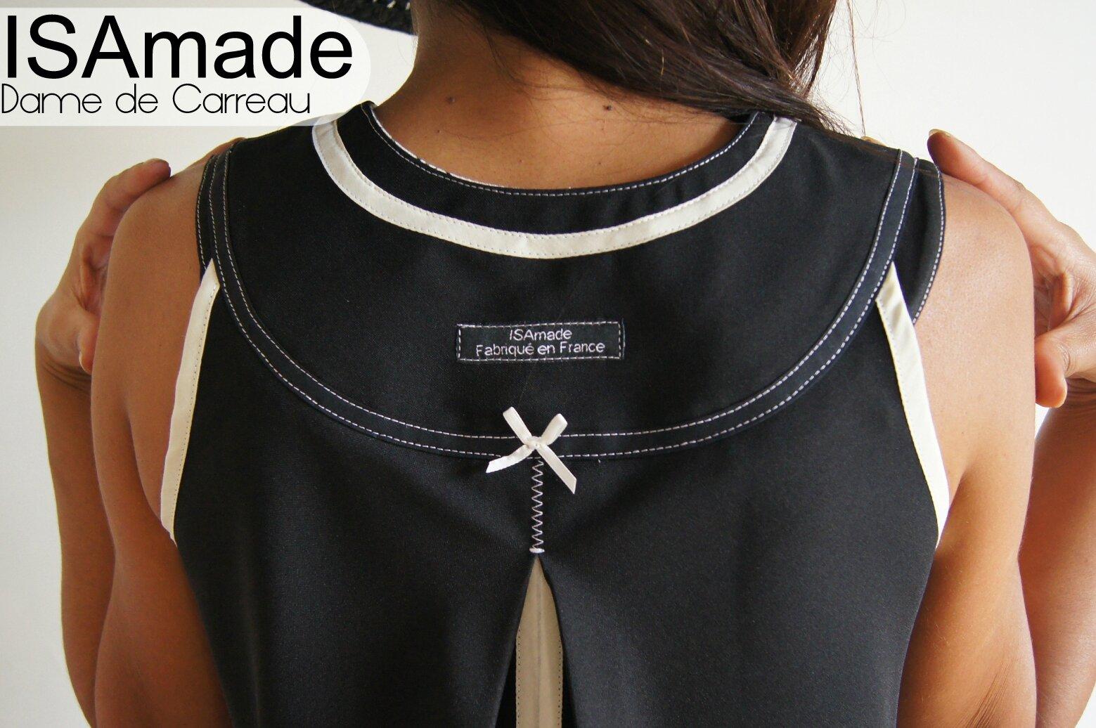 Robe trapèze cahsuble bicolore noire/ blanc cassé Graphique