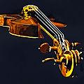 Violon, mixte sur papier, 80x60 cm