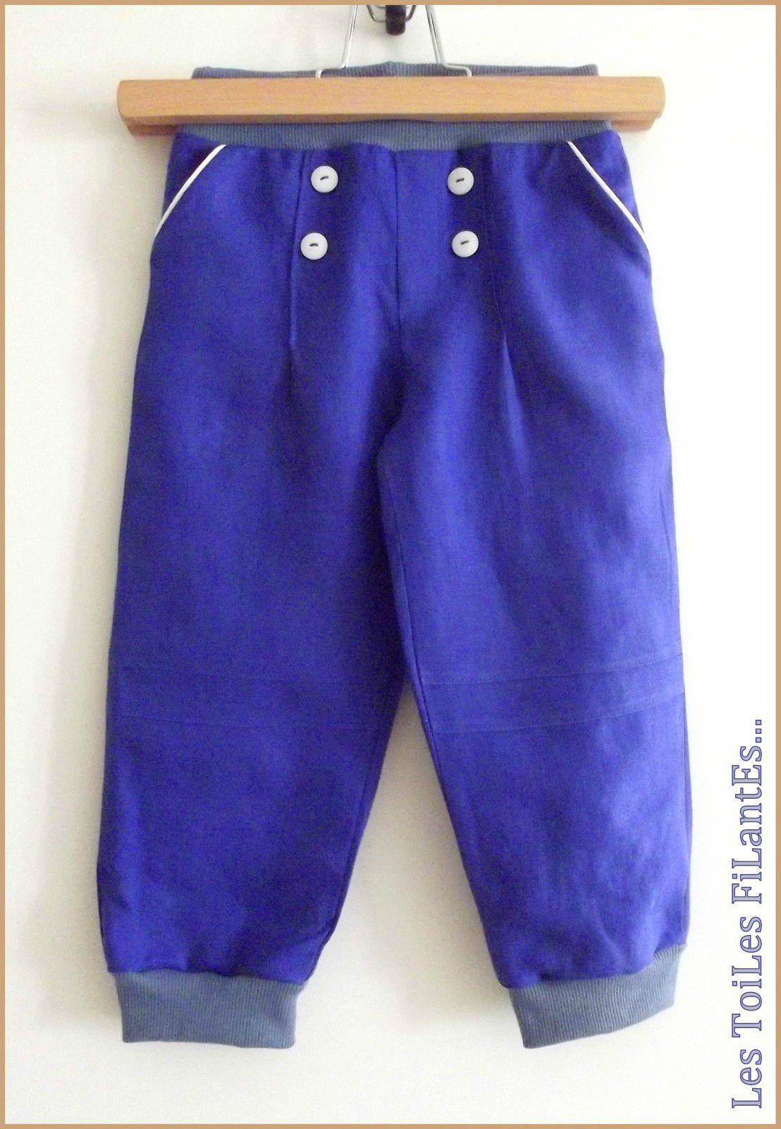 01-Ensemble pantalon bleu klein à pont