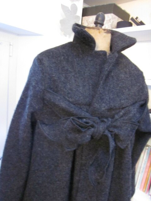 Manteau AGLAE en laine bouillie gris anthracite chiné - Taille 54 (3)
