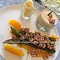 Déclinaison d'asperges, crevettes grises et orange