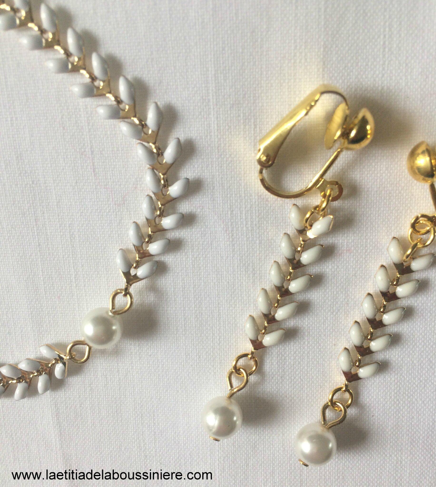 Bracelet Ludivine et BO Ludivine (doré et blanc) détails - 17 € et 15 €
