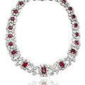 A ruby and diamond necklace, by harry winston