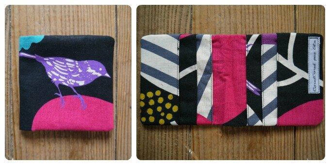 porte cartes oiseau violet