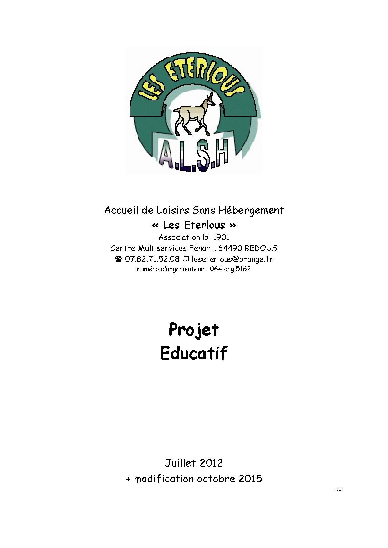Page 1 Projet Educatif Eterlous