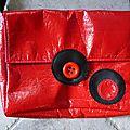 sac en vinyl rouge doublé coton