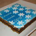 Gâteau Bonne année flocons de neige détail fondu couleur