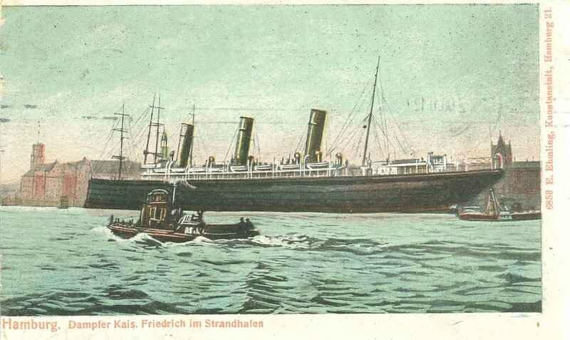 Kaiser Friedrich amarré à Hambourg - Kaiser Friedrich docked in Hamburg.