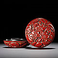 A small cinnabar-lacquer 'prunus' seal paste box and cover, ming dynasty, early 15th century