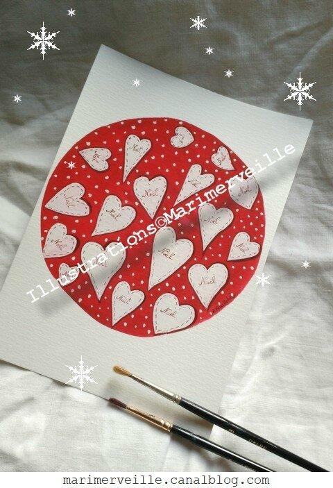 illustrations Coeurs de Noël - créations ©Marimerveille