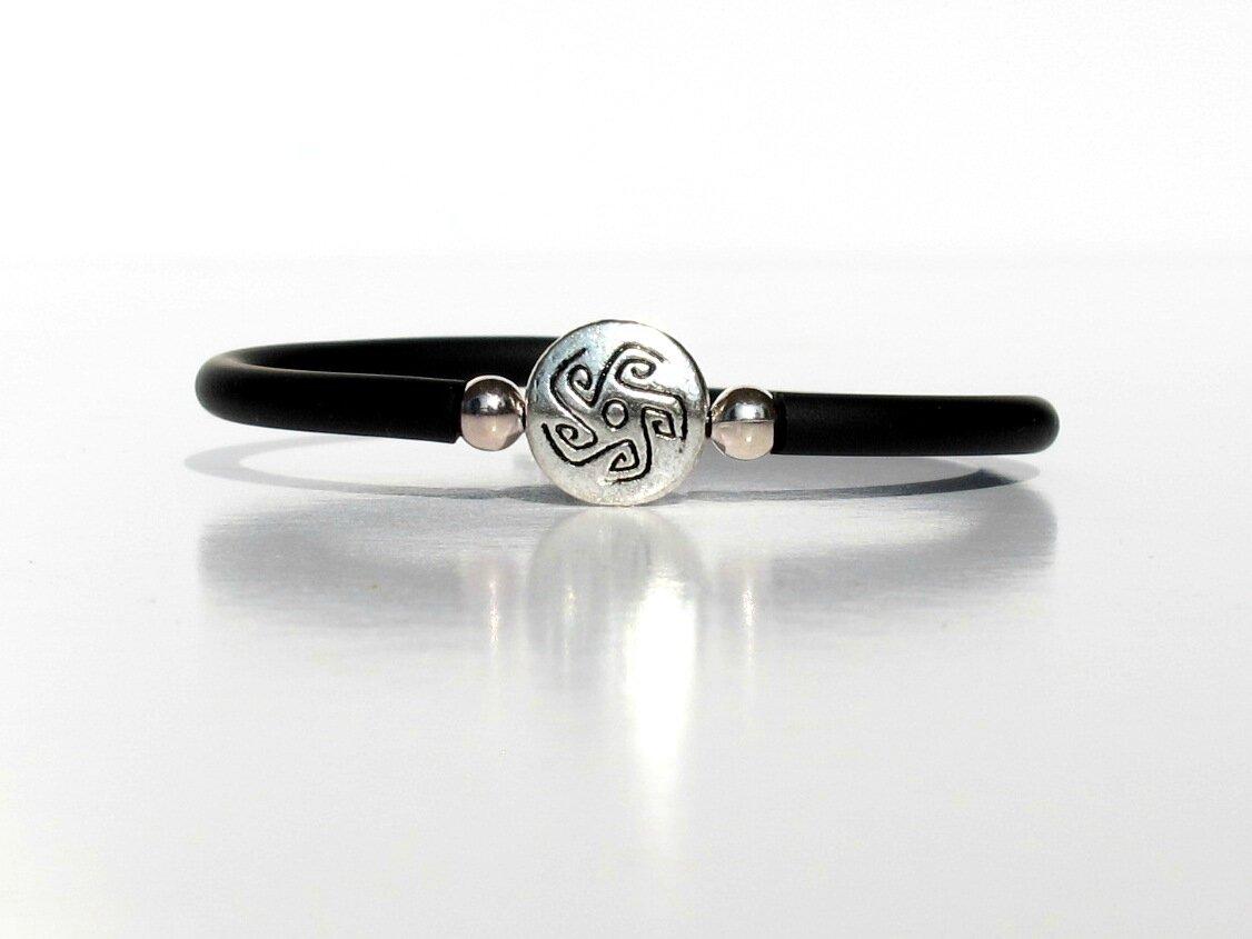 bracelet noir perle ronde métal aztèque