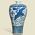 A large, rare and impressive blue and white 'phoenix' vase,meiping, Wanli six-character mark in underglaze blue and of the period (1573-1619)