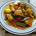 Marmite de poulet aux haricots verts plats et aux tomates