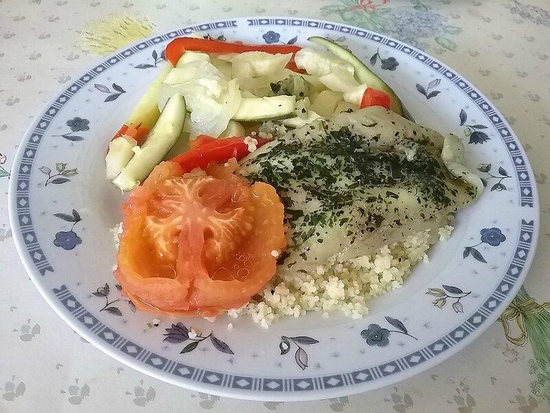 Filets de limande persillés aux legumes vapeur