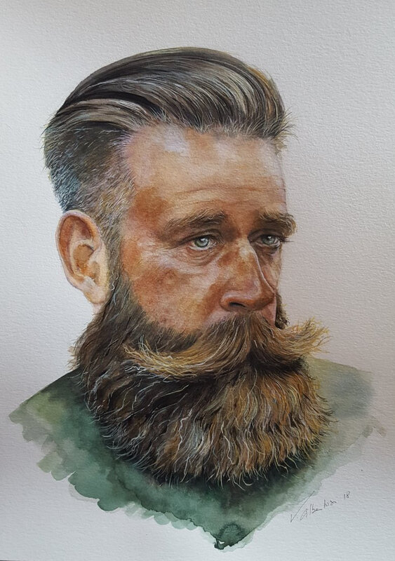 portrait aquarelle homme barbu hipster valerie albertosi watercolor