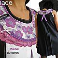 Robe trapèze fantaisie et graphique bicolore noire /blanche & imprimé Fleuri mauve