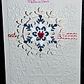 Carte de voeux hivernale avec flocons et twine rouge