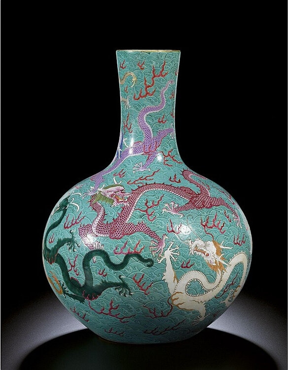 A large 'famille-rose' 'Nine dragon' vase, tianqiuping, seal mark and period of Qianlong, the enamels possibly later