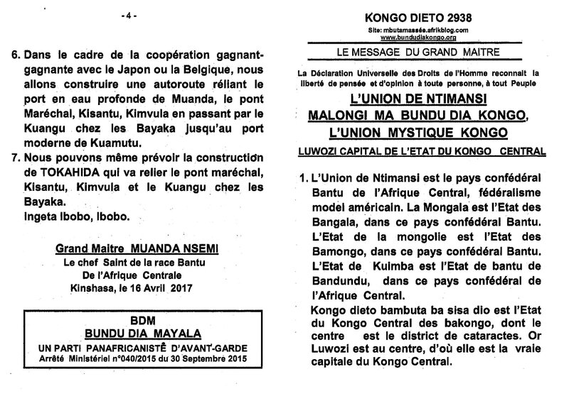 LUWOZI CAPITAL DE L'ETAT DU KONGO CENTRAL a