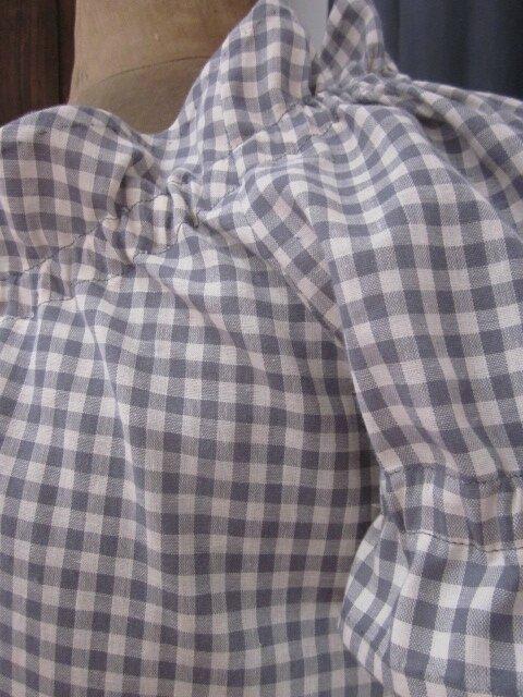 Robe ALBANE en coton vichy gris et écru (7)