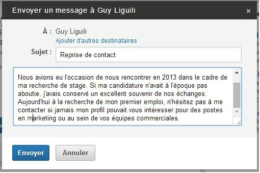 reprise de contact linkedin