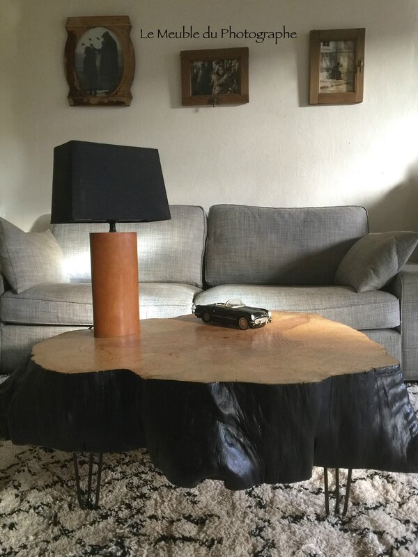 table basse rondin 1m peinte