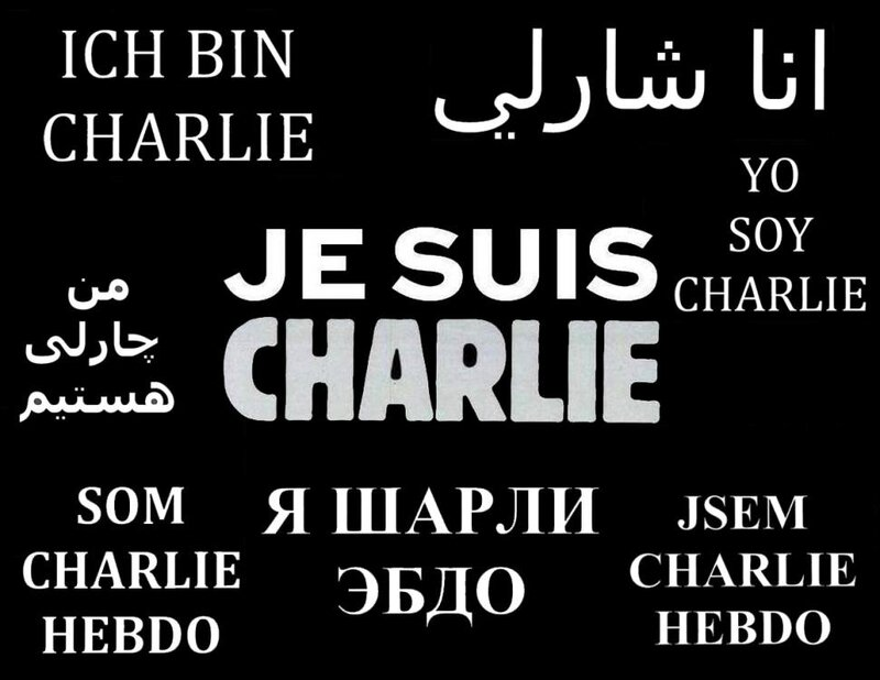 Je suis charlie sign internatinal languages, bit not english