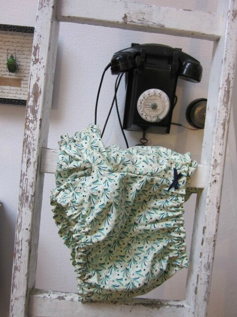 Culotte BIANCA en coton plumettes vert et turquoise - noeud marine (2)