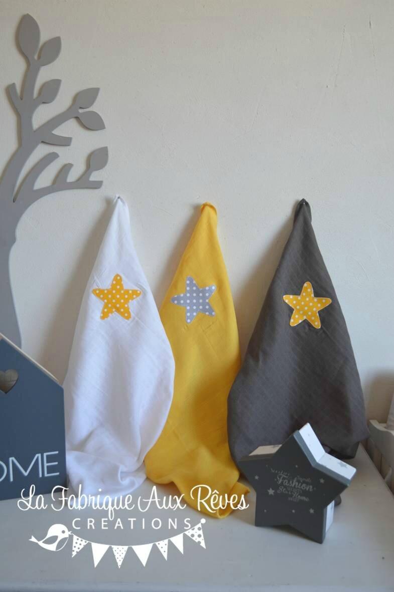 lot 3 langes coton bébé cadeau naissance étoile blanc jaune gris