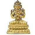 A gilt-copper alloy figure of avalokiteshvara chaturbhuja, tibet, circa 15th century