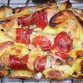 Pilons rôtis en habit de jambon et pommes de terre croustillantes
