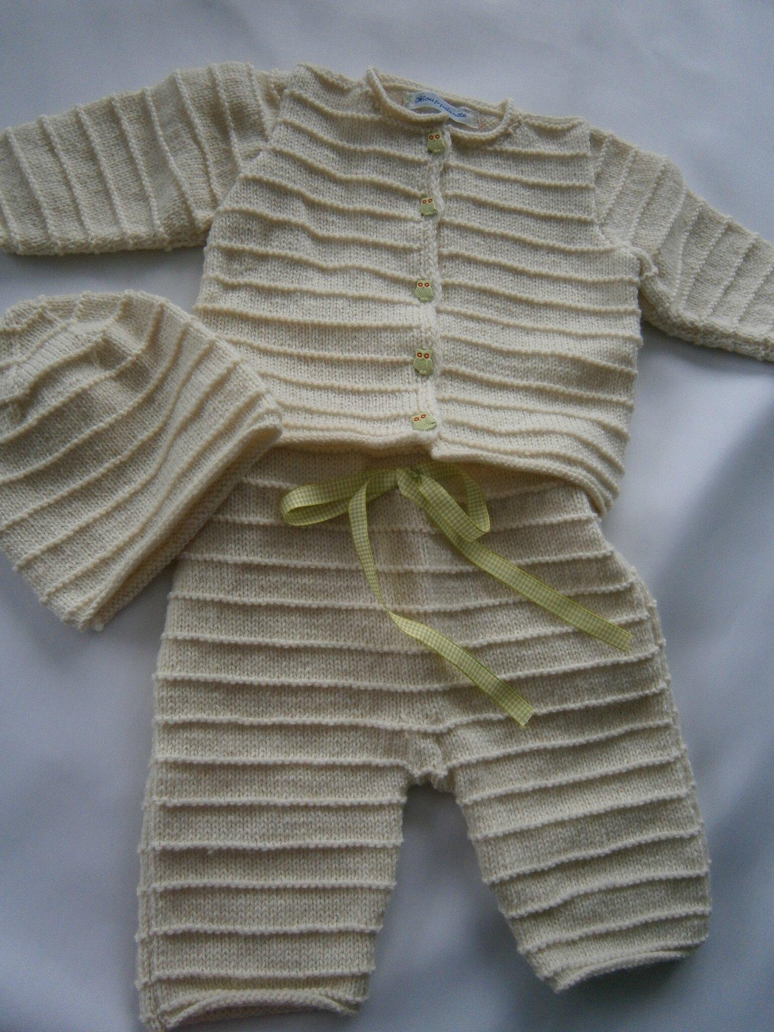 Ensemble bébé en pure laine Fonty Mérinos (gilet, culotte et bonnet) 3/6 mois tricot fait main