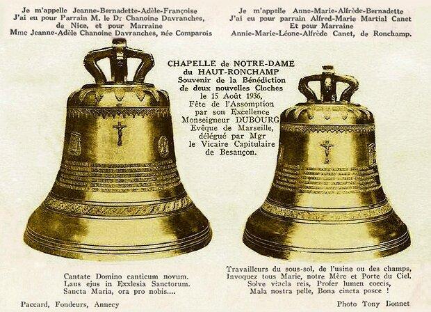 CPA Ronchamp Notre-Dame du Haut 1936 Cloches Texte modifié