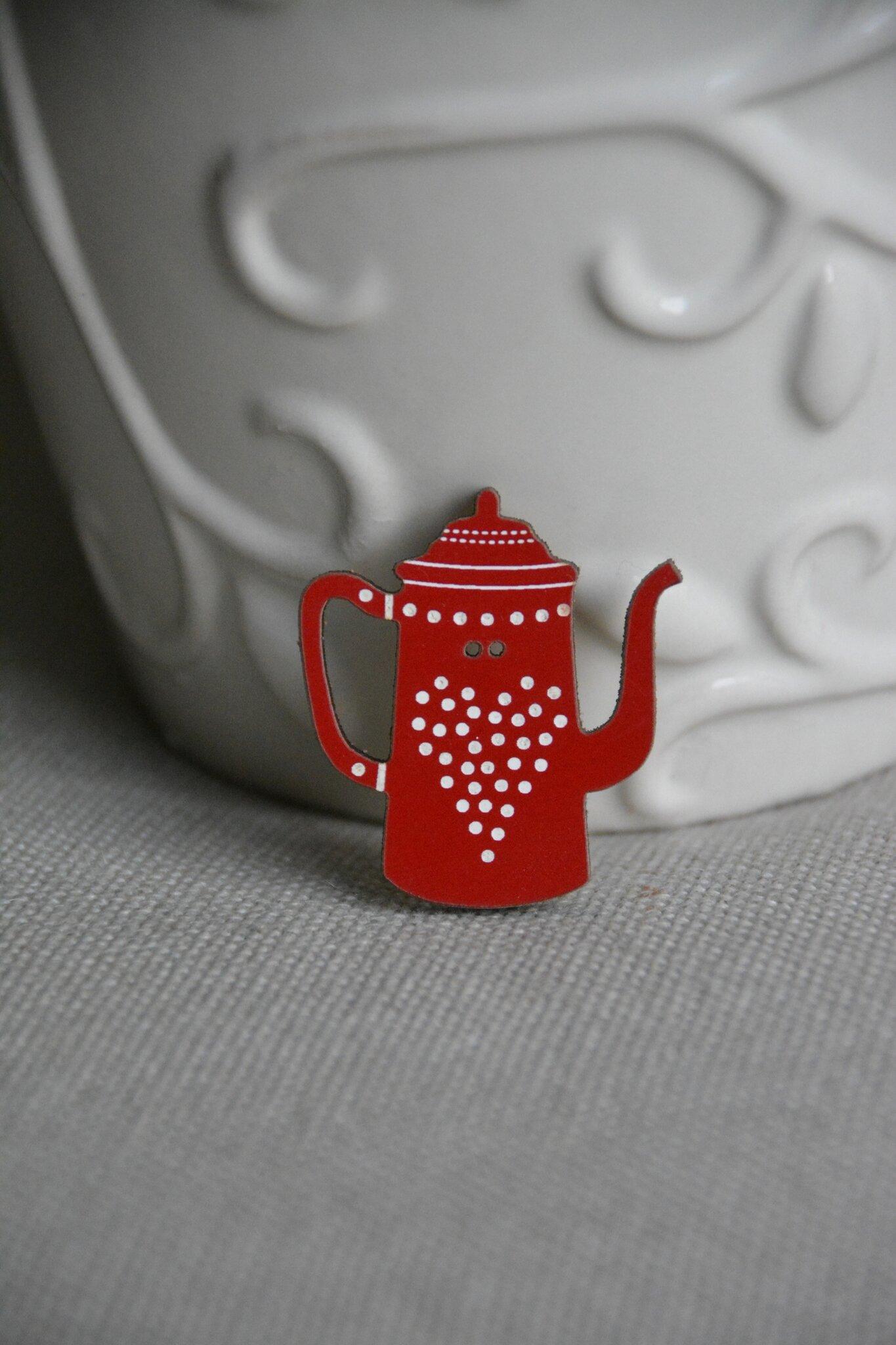 cafetière rouge à pois