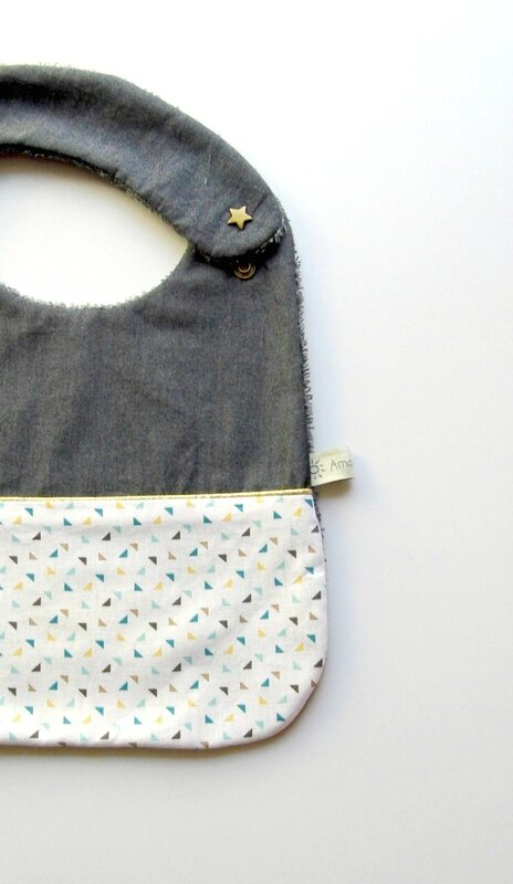 Bavoir bébé fille original denim jaune moutarde doré